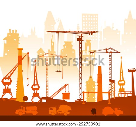 Industrial site with factory and cranes - stock vector