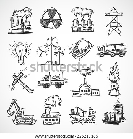 Industrial sketch icon set with oil fuel electricity and energy industry symbols isolated vector illustration - stock vector