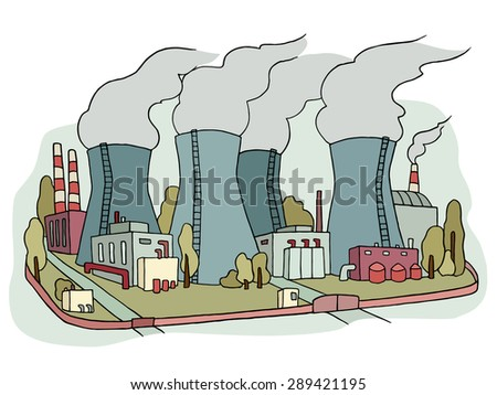 Industrial sketch of nuclear power station. Doodle factory with with smoking plants pipes . Hand drawn colored illustration for business design isolated on white. - stock vector