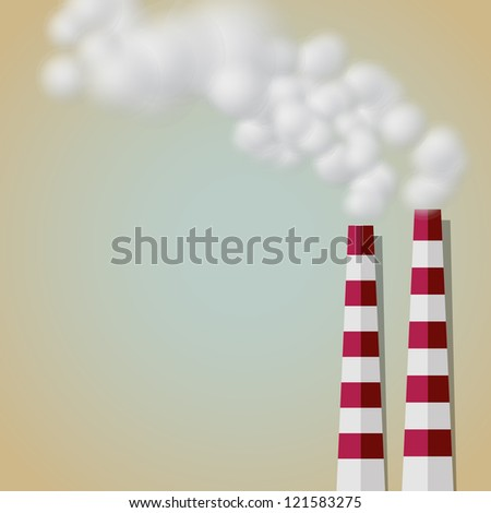 Industrial Smoke from Chimney Paper Cut Vector Background - stock vector