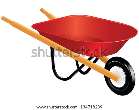Industrial tool for manual movement of construction and household items - industrial wheelbarrow. Vector illustration. - stock vector