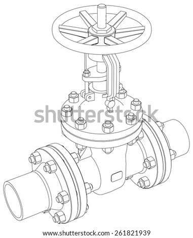 Industrial Valve Detailed Vector Illustration Isolated On White Background Rendering Of 3d