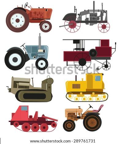 Industrial Vintage tractors vector collection.  - stock vector