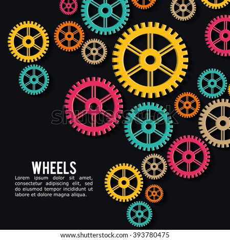 Industrial wheel design with colors background, vector illustration