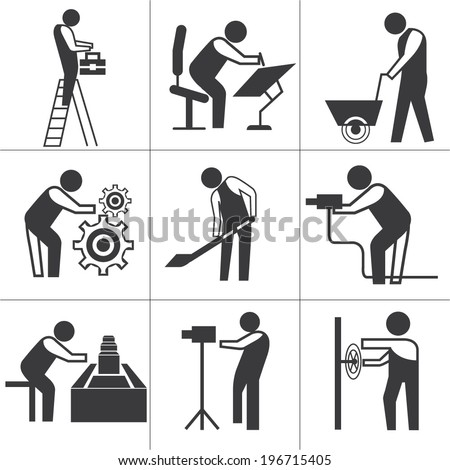 industrial worker icons set, construction workers set