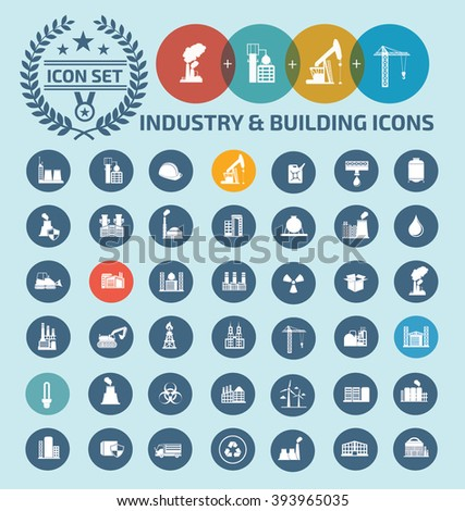 Industry and building,construction icon set design,clean vector - stock vector