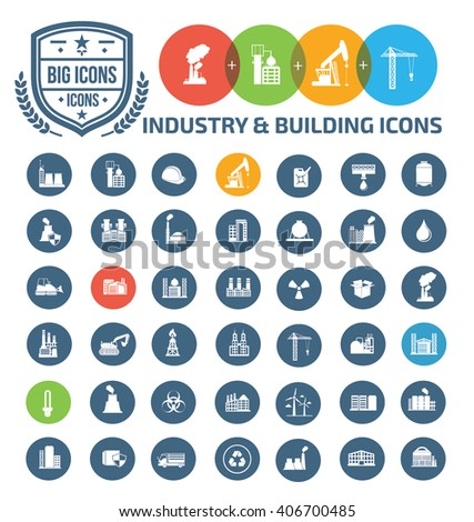 Industry and building icons,vector - stock vector