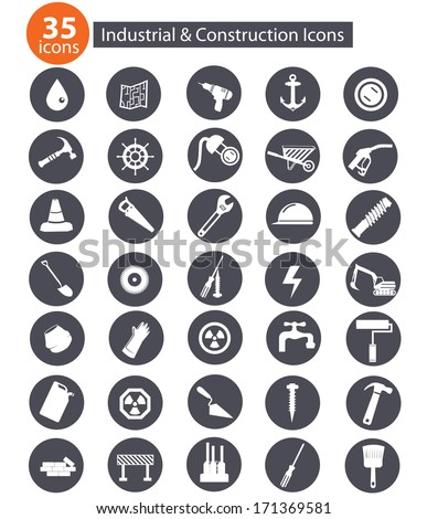Industry and construction icons,on white background - stock vector