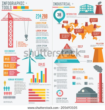 Industry and factory concept info graphic design on white background,vector - stock vector