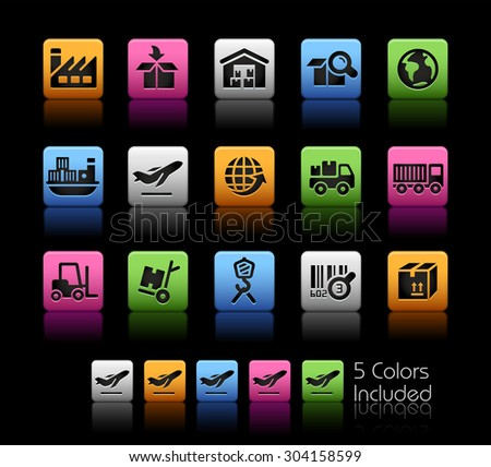 Industry and Logistics Icons // ColorBox Series ---- The Vector file includes 5 color versions for each icon in different layers -- - stock vector