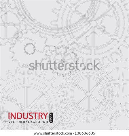 Industry background with gray gears vector illustration