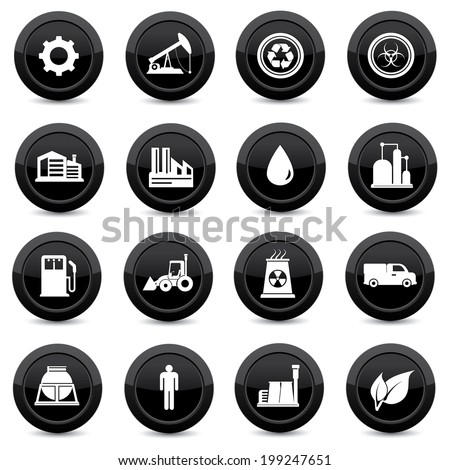 Industry,black icons on white background - stock vector