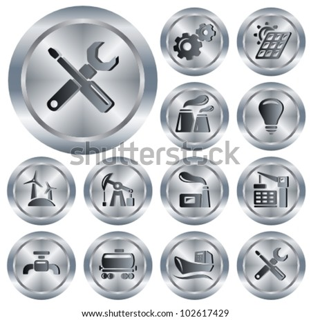 Industry button set - stock vector