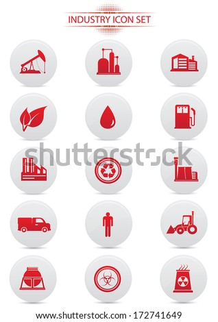 Industry buttons on white background,red version,vector - stock vector
