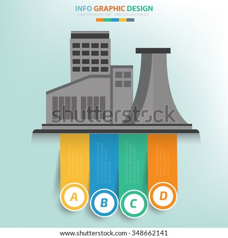 Industry concept and label for text,info graphics design,clean vector