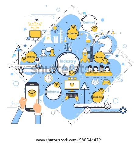 Industry 4.0 Concept Business Control, Modern Thin Line Icon Presentation Design. Internet of Things, Cloud Computing, Network, Future, Automation Detailed Illustration. Web Infographics Elements