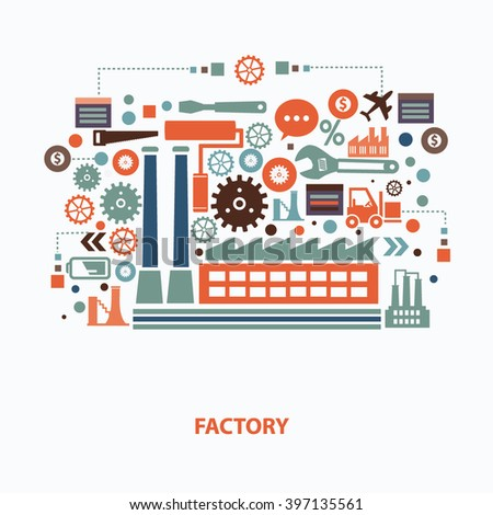 Industry concept design on clean background,vector - stock vector