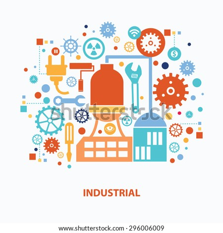 Industry concept design on white background,clean vector