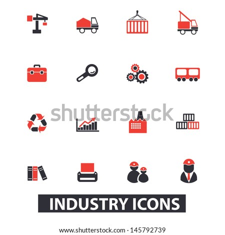 industry concept icons: workers, building, engineering, logistics, electricity, set. vector - stock vector