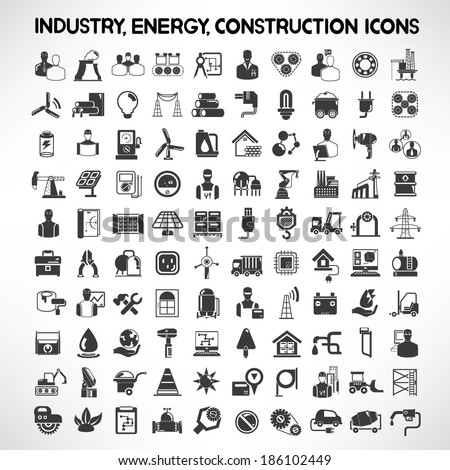 industry, energy and construction icons set, industrial and engineering detail buttons - stock vector