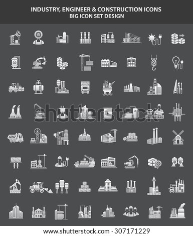 Industry,Engineer & Construction icon set,clean vector - stock vector