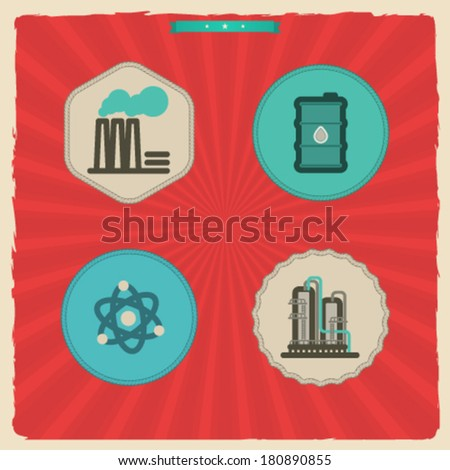 Industry & Heavy industry icons set, pictured here from left to right:  Factory, Barrel of oil, Nuclear power plant, Chemical plant. - stock vector