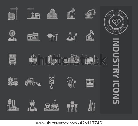 Industry icon set on clean background,vector - stock vector