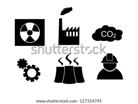 Industry icon set vector. - stock vector
