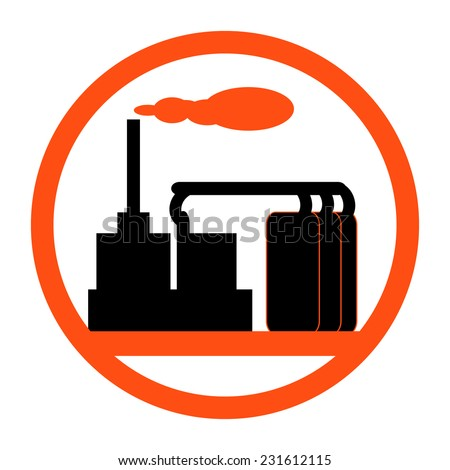Industry icon showing a factory or petrochemical refinery plant logo with chimneys belching smoke and stylized storage tanks in a circular frame - stock vector