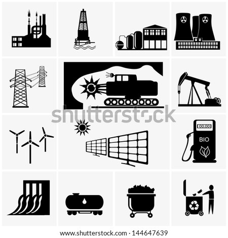 industry icons. - stock vector