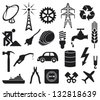 industry icons collection (oil barrel, hammer, construction workers hard hat, power line, fuel pump, water tap, radio antenna, lightning symbol, energy saving light bulb) - stock vector