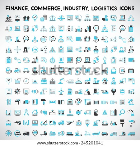 industry icons, finance icons, commerce icons, logistics and shipping icons set - stock vector
