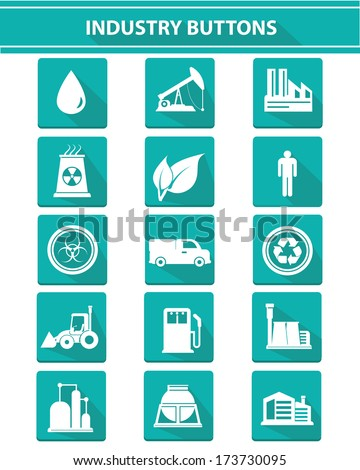 Industry icons on white background,green version,vector - stock vector