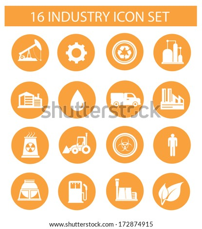 Industry icons on white background,orange version,vector - stock vector