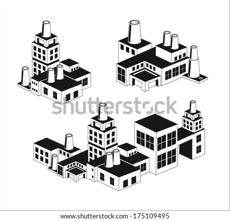 industry icons over white background. vector illustration.Vector industrial buildings and factories - stock vector