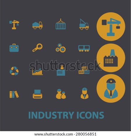 industry icons set, vector - stock vector