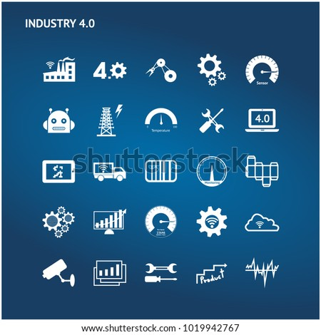 Industry 4.0 , Industrial internet of things technology trend concept. White icons set of sensor of smart factory , monitoring , process control and augmented reality on blue background.