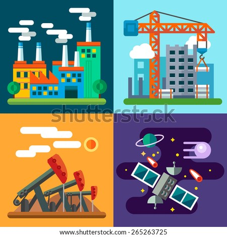Industry landscapes and new technology: plant, factory, home construction, crane, oil rig, space exploration, satellite, planet. Vector flat  illustrations - stock vector