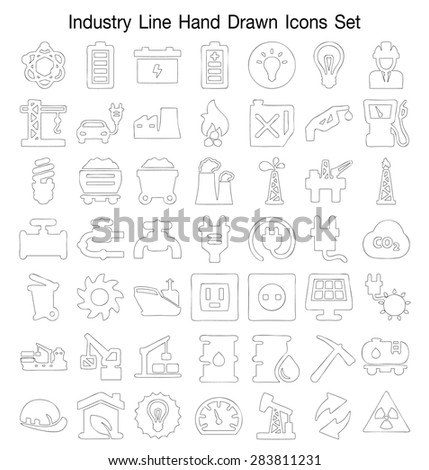 Industry line Hand Drawn icon set - stock vector