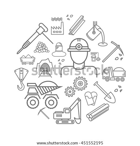 Industry line icons set. Metallurgy and Coal mining sign in a circle. - stock vector