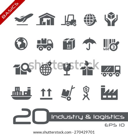 Industry & Logistics Icons // Basics - stock vector