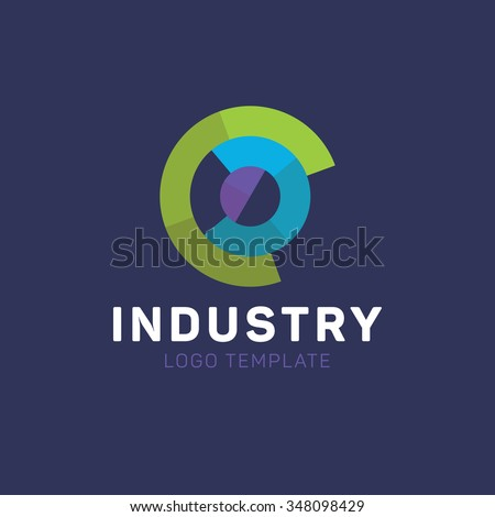 Industry logo. Circle logo. Fabrication logo. Factory logo. Tech logo - stock vector