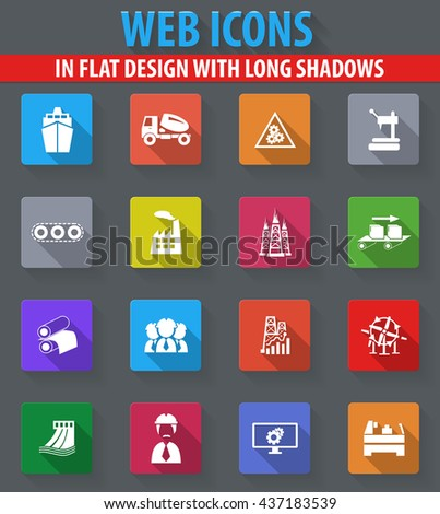 industry web icons in flat design with long shadows