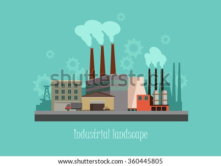 Industryal background - industry factory. Flat style vector illustration. - stock vector