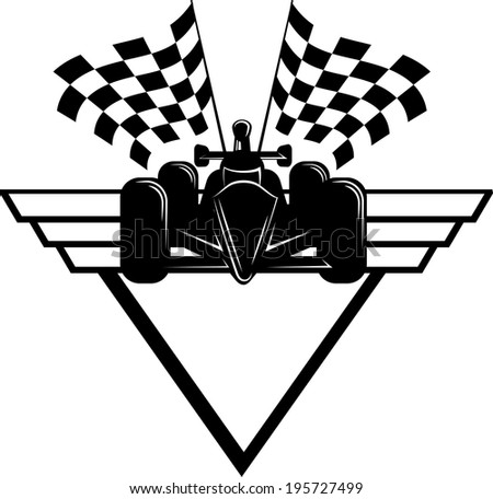 Indy style of race car with checked flags and shield behind. Silhouette with highlights.  - stock vector