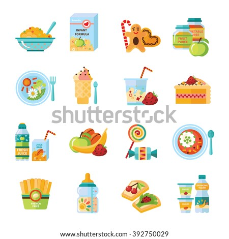 Infant and baby food flat icons collection with milk formula and vegetable puree abstract isolated vector illustration - stock vector