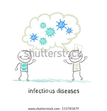 infectious diseases specialist says with a patient about infection - stock vector