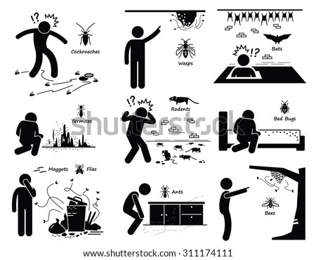 Infestation of Pests Cockroaches Wasp Bats Termites Rats Bugs Maggots Ants Bees - stock vector