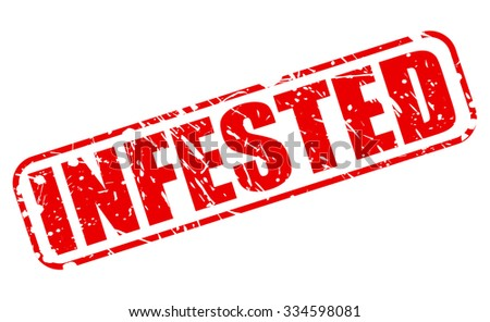 INFESTED red stamp text on white - stock vector