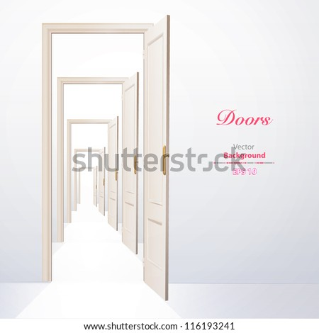 Infinite doors. Vector illustration. - stock vector